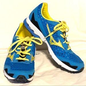Mizuno Wave Ronin 5 blue yellow running shoes Sz 9